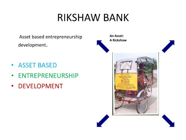 "RIKSHAW BANK  Asset based entrepreneurship N' ""$59""  A Rickshaw development.   I  ° ASSET BASED ° ENTREPRENEURSHIP ° DEVEL..."