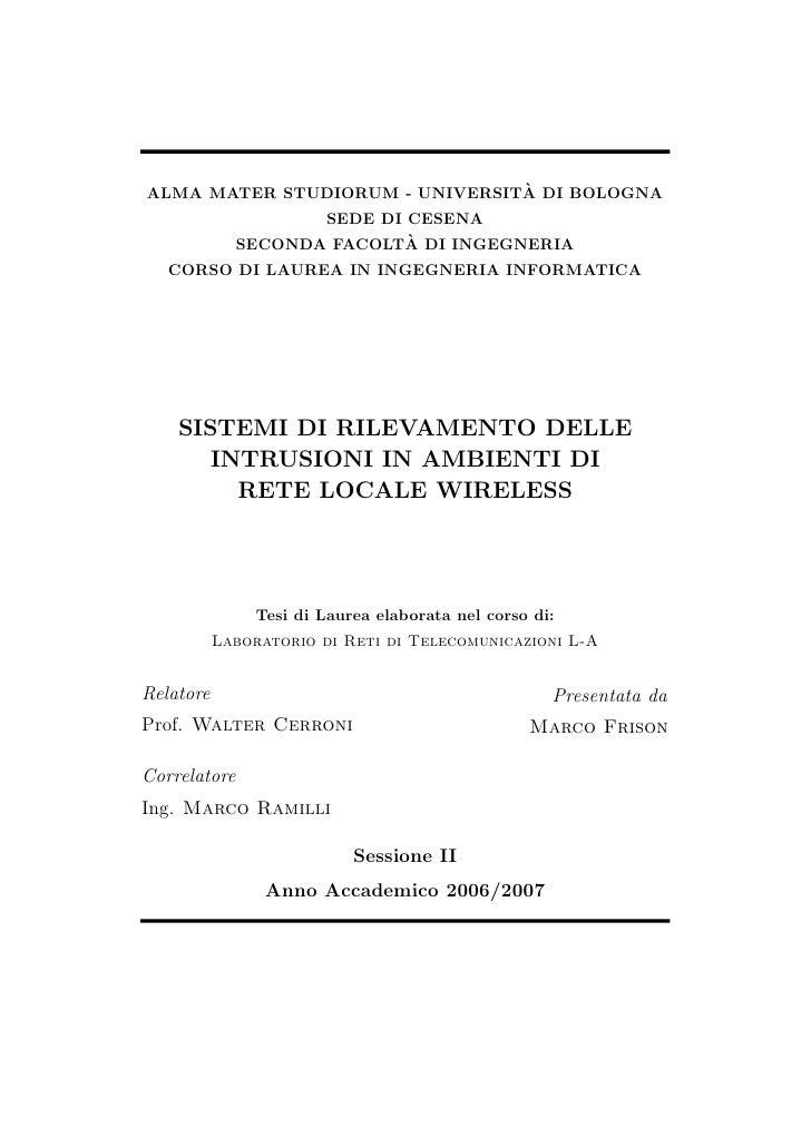 ` ALMA MATER STUDIORUM - UNIVERSITA DI BOLOGNA                     SEDE DI CESENA                             `           ...