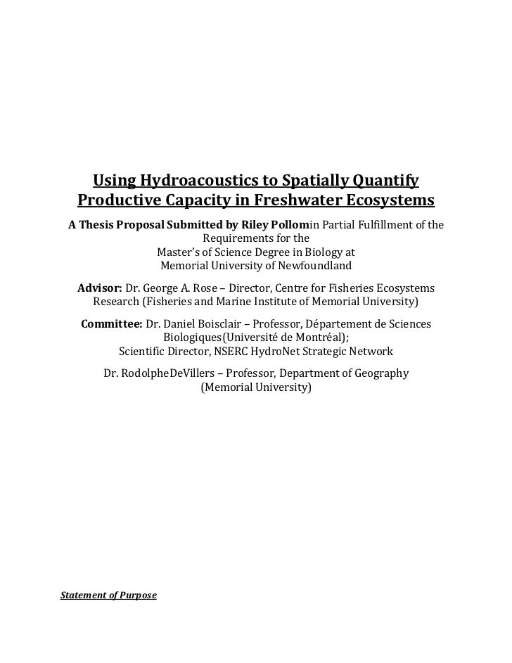 Using Hydroacoustics to Spatially Quantify   Productive Capacity in Freshwater Ecosystems A Thesis Proposal Submitted by R...