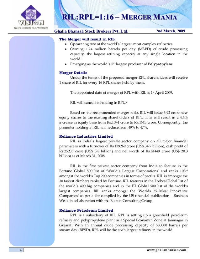 case study on ril-rpl merger