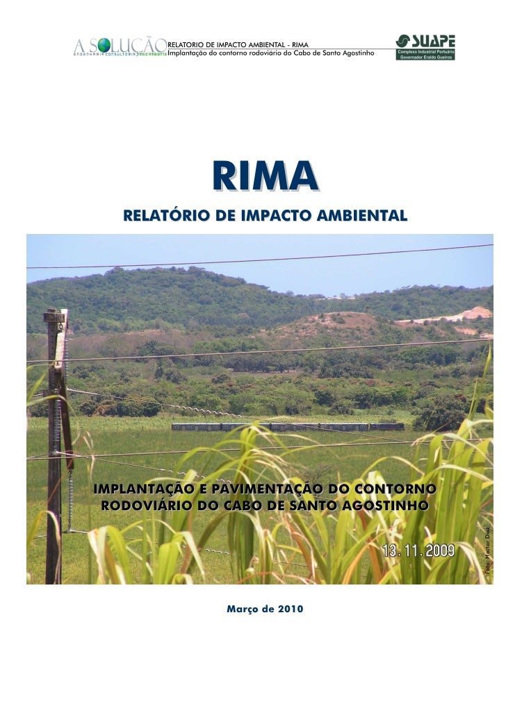 RIMA    RELATÓRIO DE IMPACTO AMBIENTAL     IMPLANTAÇÃO E PAVIMENTAÇÃO DO CONTORNO  RODOVIÁRIO DO CABO DE SANTO AGOSTINHO  ...