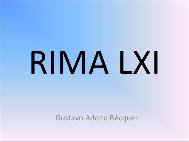 RIMA LXI Gustavo Adolfo Bécquer