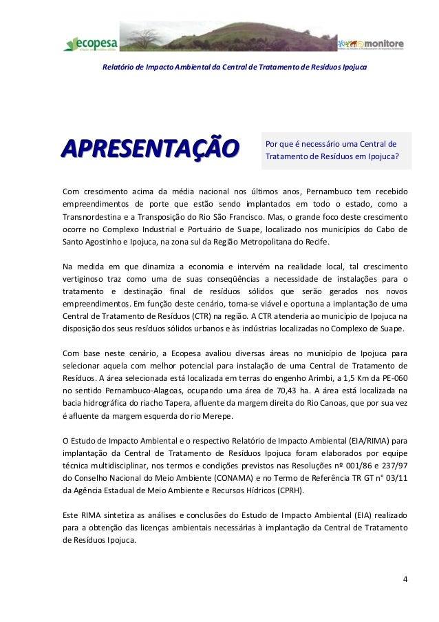 Relatório de Impacto Ambiental da Central de Tratamento de Resíduos IpojucaAPRESENTAÇÃO                                   ...