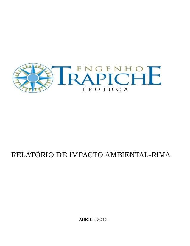 RELATÓRIO DE IMPACTO AMBIENTAL-RIMA ABRIL - 2013
