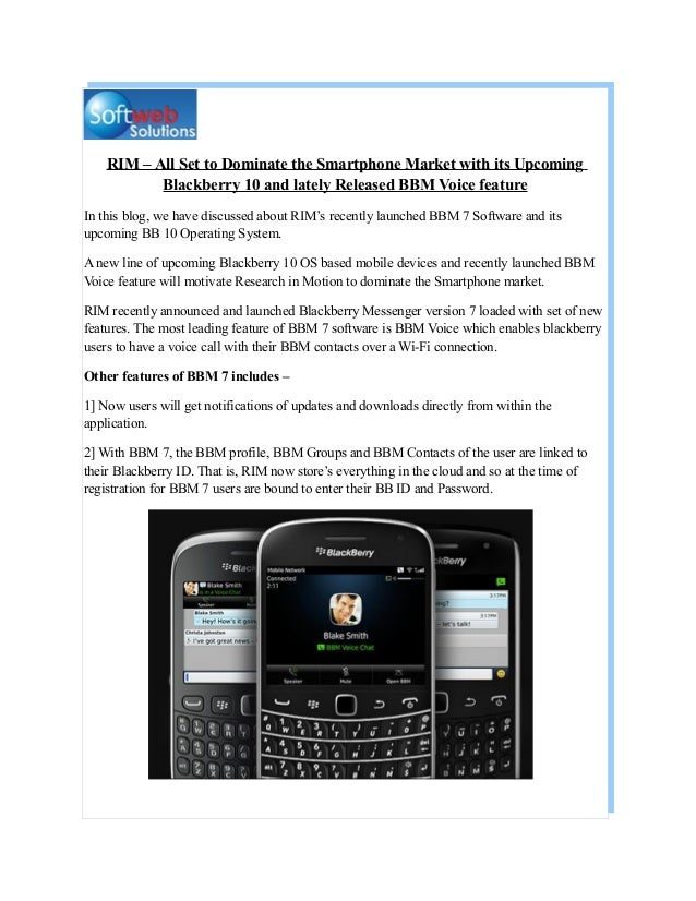 RIM Aims to Dominate Smartphone Market with BB 10 OS and BBM