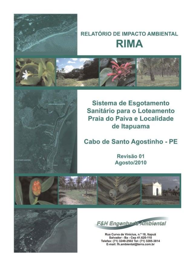 2 Relatório de Impacto Ambiental – RIMA Sistema de Esgotamento Sanitário a ser implantado para o Loteamento Praia do Paiva...
