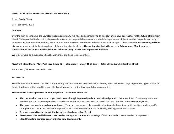 UPDATEONTHERIVERFRONTISLANDMASTERPLANFrom:GoodyClancyDate:January5,2012OverviewOverthenexttwomonths,...