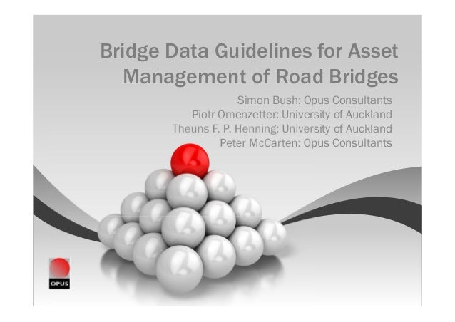 Bridge Data Guidelines for Asset   Management of Road Bridges                    Simon Bush: Opus Consultants          Pio...