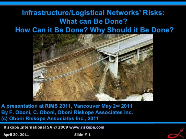 Infrastructure/Logistical Networks Risks:                  What can Be Done?      How Can it Be Done? Why Should it Be Don...