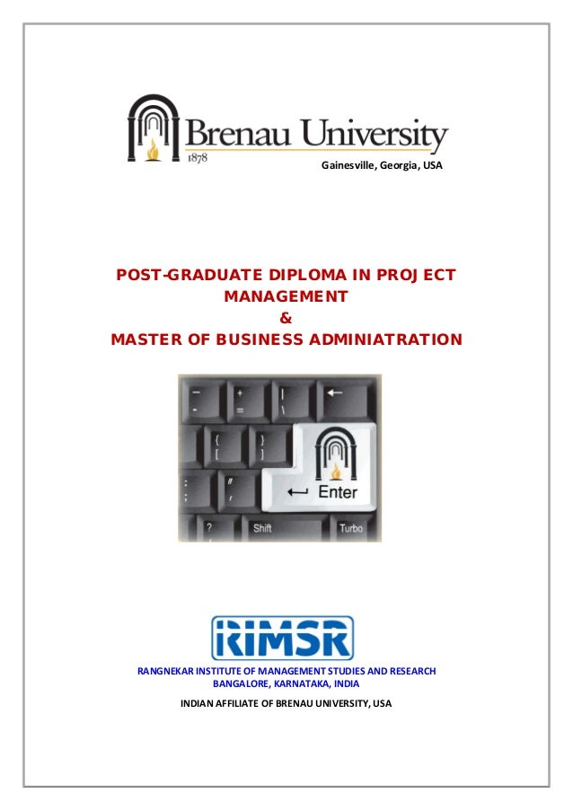 PG Diploma in Project Management RIMSR-Brenau University,PMI