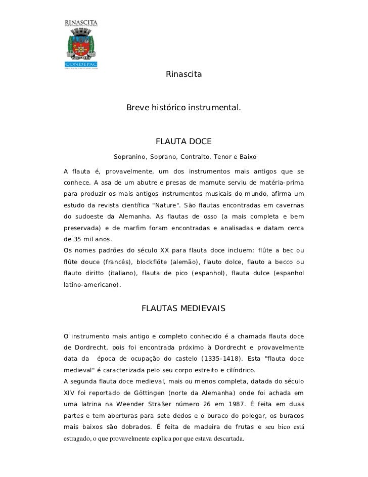 Rinascita                      Breve histórico instrumental.                                 FLAUTA DOCE                  ...