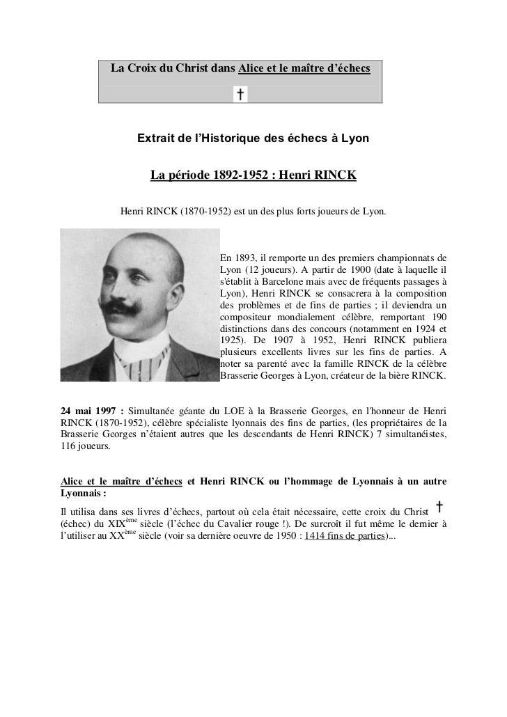 La Croix du Christ dans Alice et le maître d'échecs                  Extrait de l'Historique des échecs à Lyon            ...