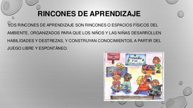 RINCONES DE APRENDIZAJE LOS RINCONES DE APRENDIZAJE SON RINCONES O ESPACIOS FÍSICOS DEL AMBIENTE, ORGANIZADOS PARA QUE LOS...