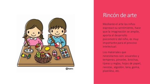 Rincón de arte Mediante el arte los niños expresan su sentimiento, hace que la imaginación se amplíe, aporta al desarrollo...