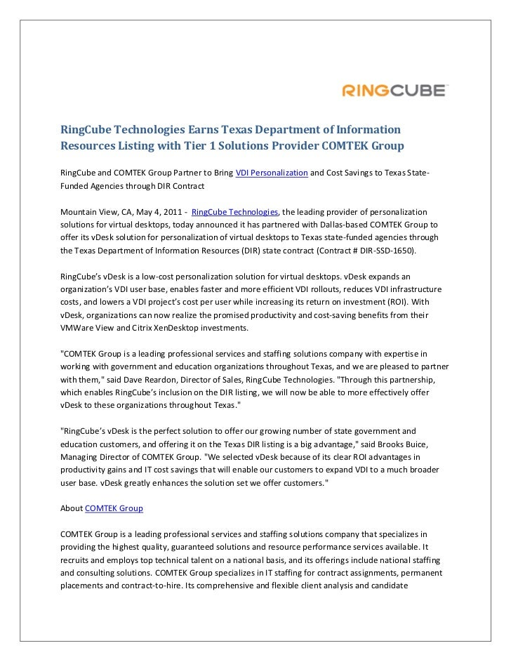 RingCube Technologies Earns Texas Department of InformationResources Listing with Tier 1 Solutions Provider COMTEK GroupRi...