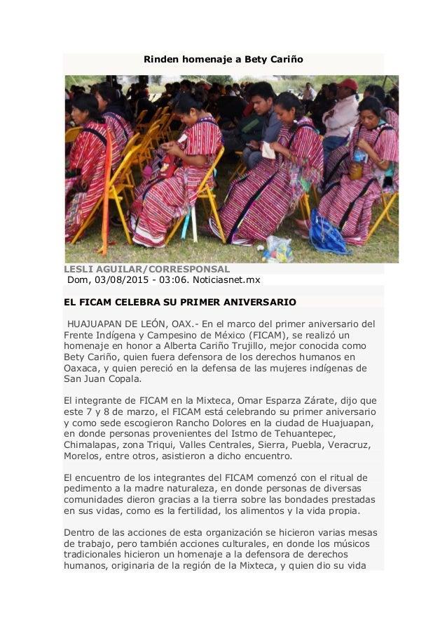 Rinden homenaje a Bety Cariño LESLI AGUILAR/CORRESPONSAL Dom, 03/08/2015 - 03:06. Noticiasnet.mx EL FICAM CELEBRA SU PRIME...