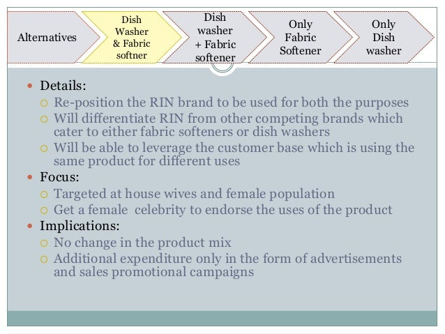 case analysis of rin detergent to position or reposition Rin detergent: to position or reposition case solution, in early january 1989, irfan mustafa, ceo of personal products and market research, lever brothers pakistan limited, wondering what action to take with res.