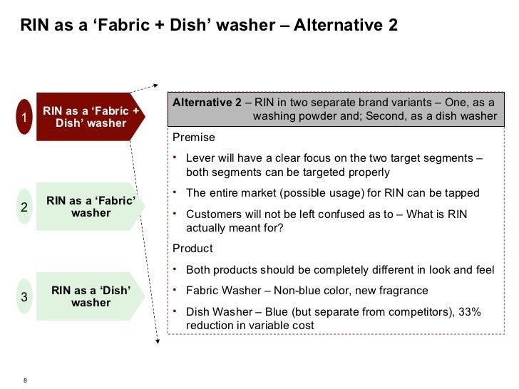 RIN as a 'Fabric + Dish' washer – Alternative 2 RIN as a 'Fabric' washer RIN as a 'Fabric + Dish' washer RIN as a 'Dish' w...