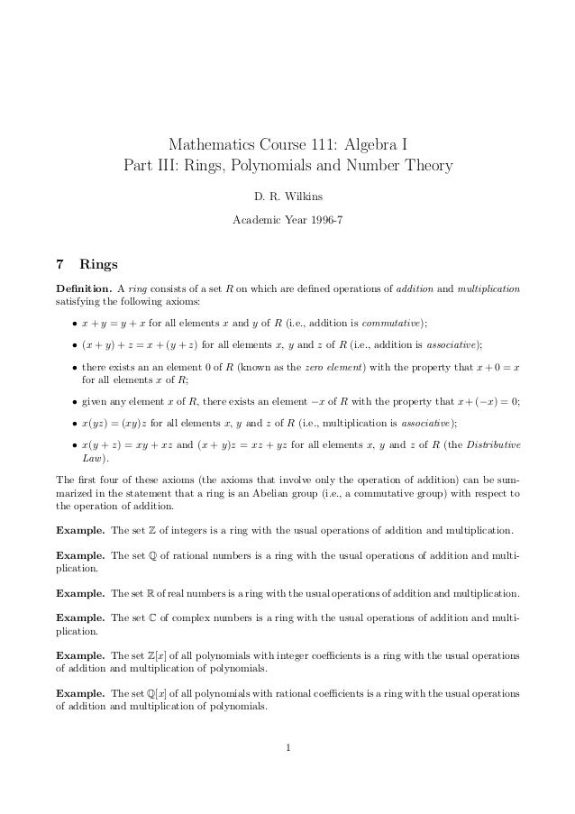 Mathematics Course 111: Algebra I               Part III: Rings, Polynomials and Number Theory                            ...
