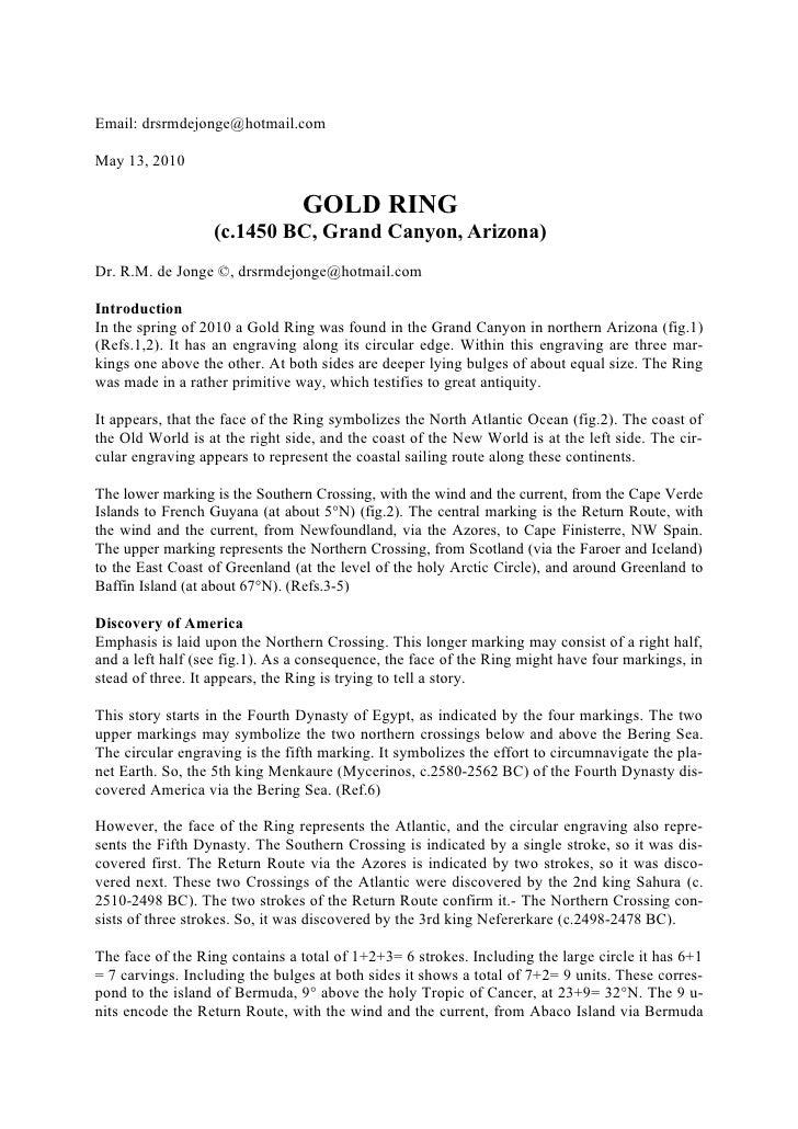 Email: drsrmdejonge@hotmail.com  May 13, 2010                                  GOLD RING                   (c.1450 BC, Gra...