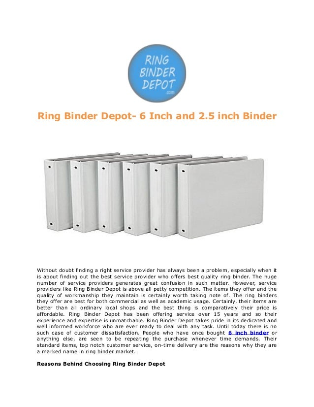 Ring Binder Depot 6 Inch And 2 5 Inch Binder