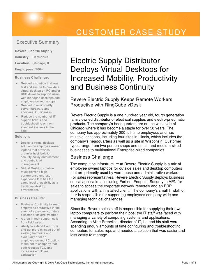 CUSTOMER CASE STUDY    Executive Summary   Revere Electric Supply   Industry: Electronics   Location: Chicago, IL         ...