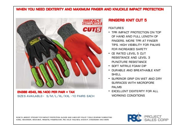 RINGERS KNIT CUT 5 FEATURES • TPR impact protection on top of hand and full length of fingers. MORE TPR AT FINGER TIPS. Hi...