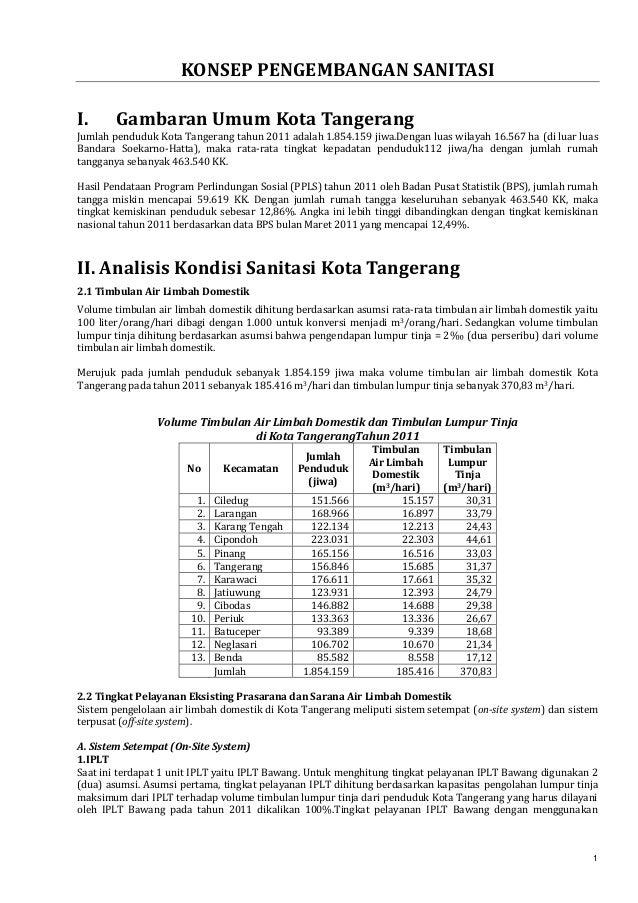 KONSEP PENGEMBANGAN SANITASI I.  Gambaran Umum Kota Tangerang  Jumlah penduduk Kota Tangerang tahun 2011 adalah 1.854.159 ...