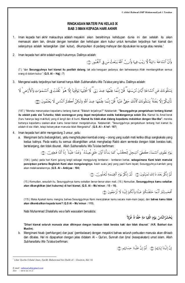 © Abdul Rahmad-SMP Muhammadiyah 1 Tarakan E-mail : rahmad.ub@gmail.com Site : www.tec.vv.si RINGKASAN MATERI PAI KELAS IX ...