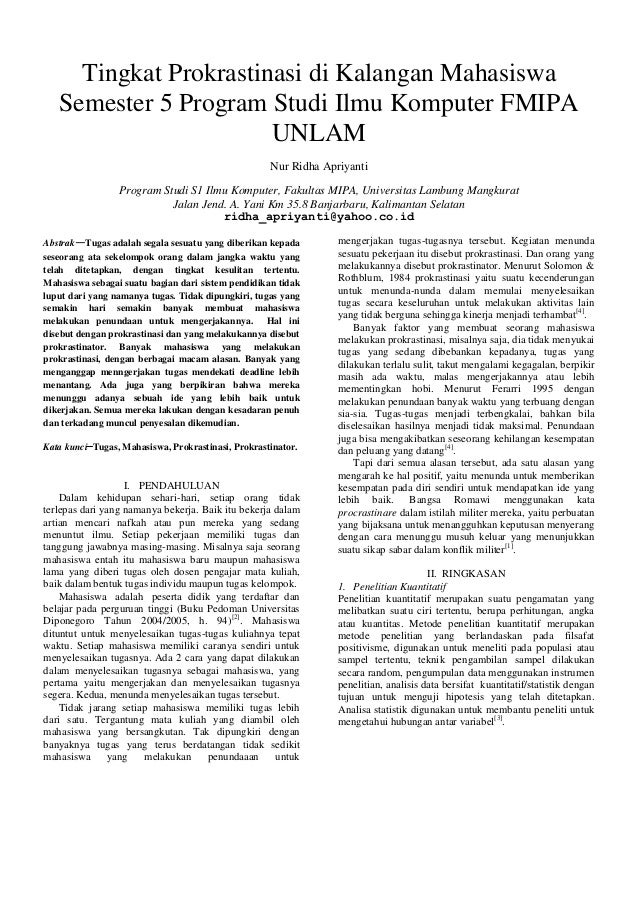 Tingkat Prokrastinasi di Kalangan Mahasiswa Semester 5 Program Studi Ilmu Komputer FMIPA UNLAM Nur Ridha Apriyanti Program...