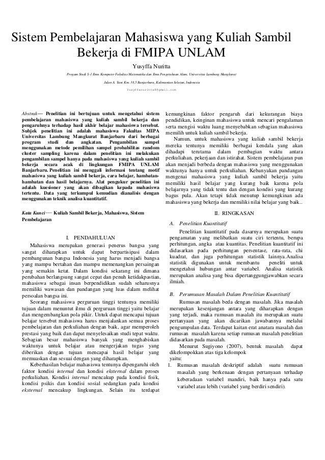 Sistem Pembelajaran Mahasiswa yang Kuliah Sambil Bekerja di FMIPA UNLAM Yusyffa Nuritta Progam Studi S-1 Ilmu Komputer Fak...