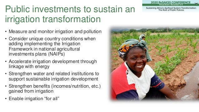 Public investments to sustain an irrigation transformation • Measure and monitor irrigation and pollution • Consider uniqu...