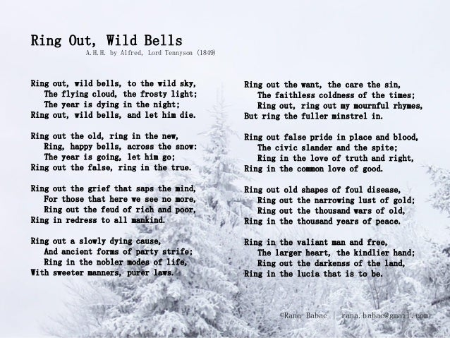 Ring Out, Wild Bells            A.H.H. by Alfred, Lord Tennyson (1849)Ring out, wild bells, to the wild sky,              ...