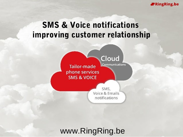 Delivering Cloud Communications since 1991 ! www.RingRing.be SMS & Voice notifications improving customer relationship