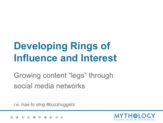 """Developing Rings ofInfluence and InterestGrowing content """"legs"""" throughsocial media networksi.e, how to sling #buzznuggets"""