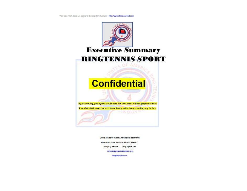 Executive Summary RINGTENNIS SPORT