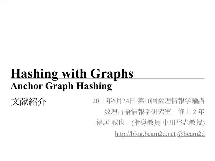Hashing with GraphsAnchor Graph Hashing                2011 6   24       10                                               ...