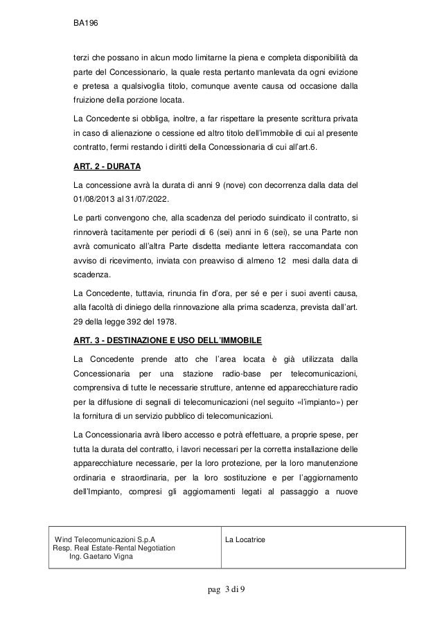 Rinnovo contratto wind20130140 g - Scrittura privata rilascio immobile locato ...