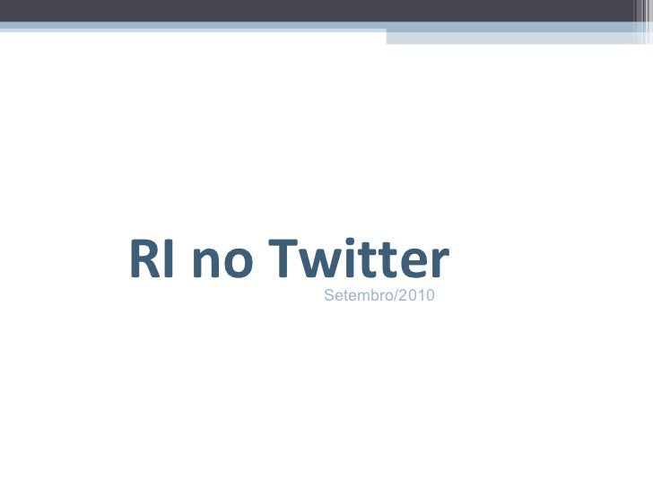 RI no Twitter Setembro/2010