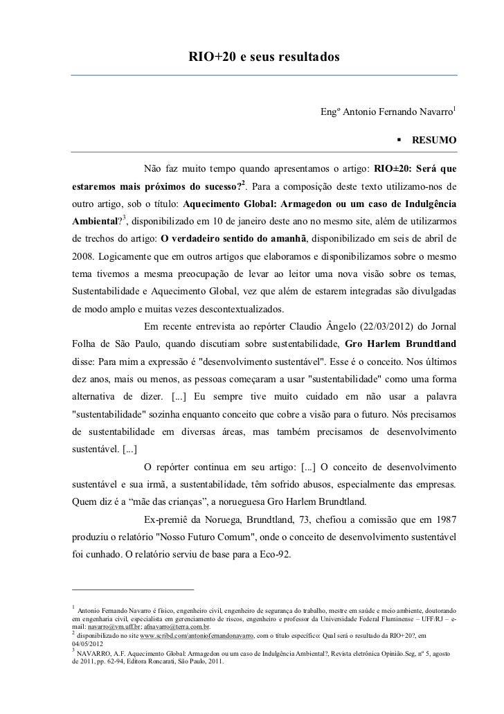 RIO+20 e seus resultados                                                                                       Engº Antoni...