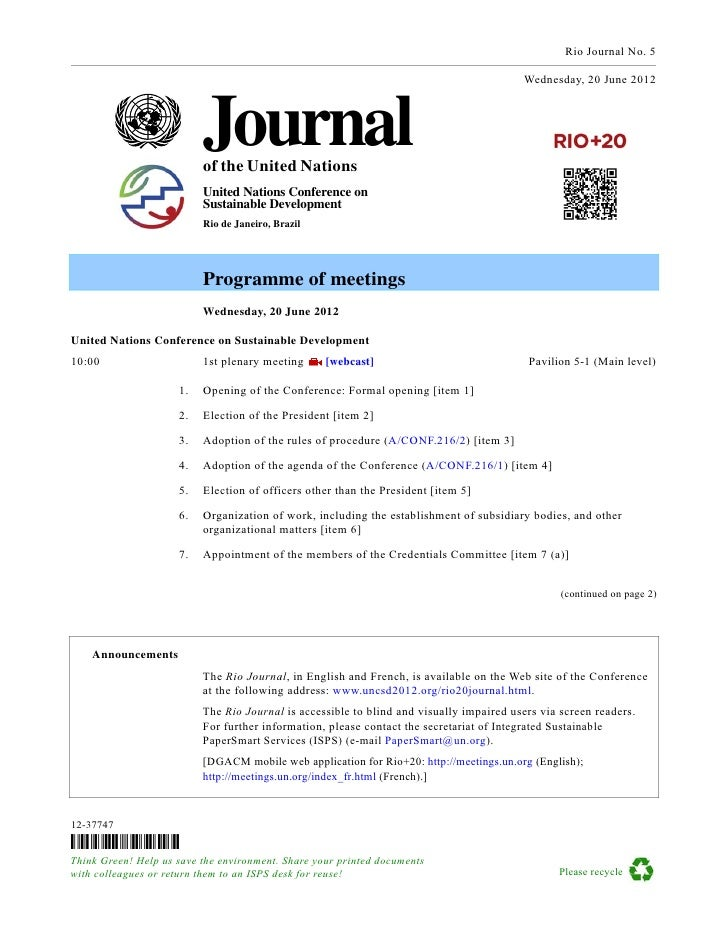 Rio Journal No. 5                                                                                         Wednesday, 20 Ju...