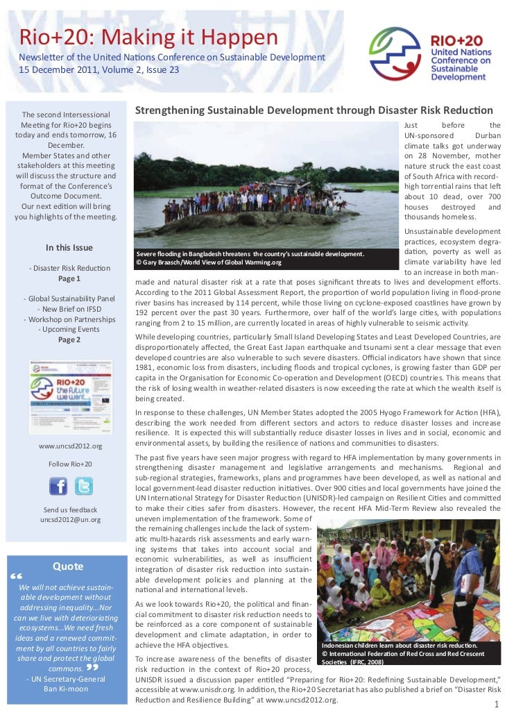 Rio+20: Making it Happen  Newsletter of the United Nations Conference on Sustainable Development  15 December 2011, Volume...