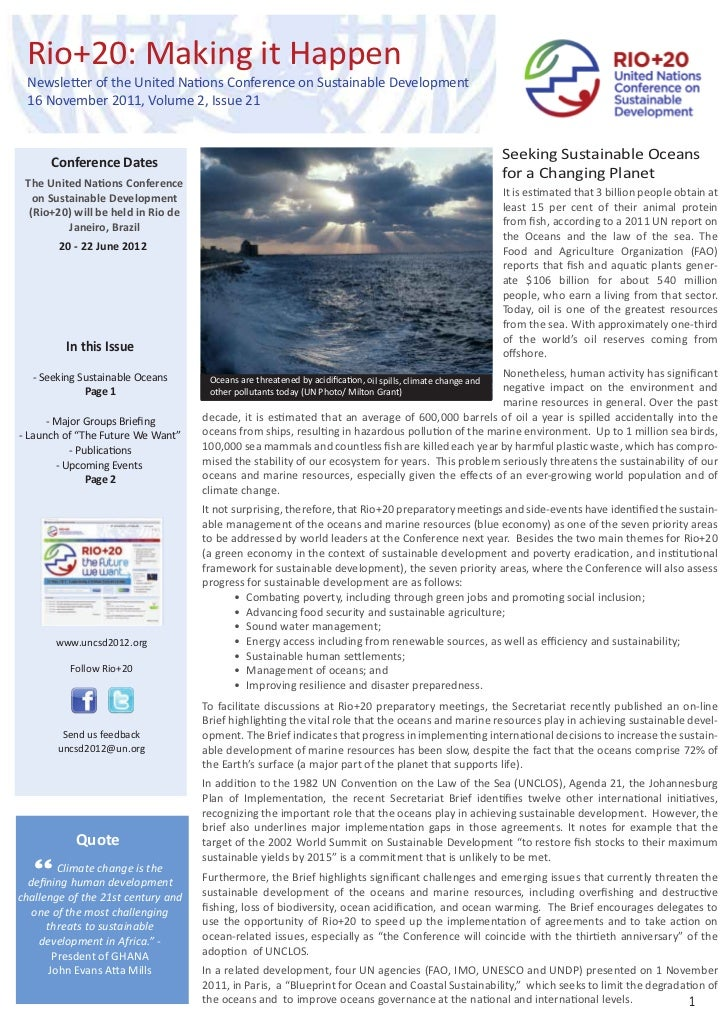 Rio+20: Making it Happen Newsletter of the United Nations Conference on Sustainable Development 16 November 2011, Volume 2...