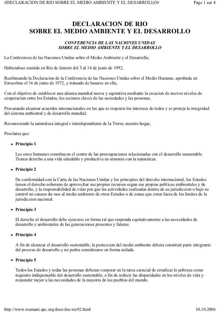#DECLARACION DE RIO SOBRE EL MEDIO AMBIENTE Y EL DESARROLLO#                                                  Page 1 sur 4...