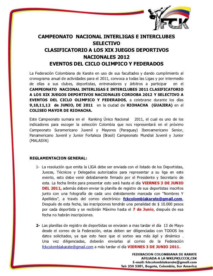 CAMPEONATO NACIONAL INTERLIGAS E INTERCLUBES                        SELECTIVO       CLASIFICATORIO A LOS XIX JUEGOS...