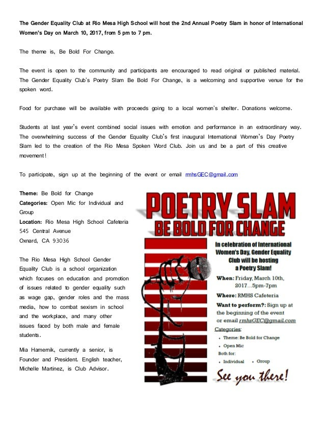 The Gender Equality Club at Rio Mesa High School will host the 2nd Annual Poetry Slam in honor of International Women's Da...