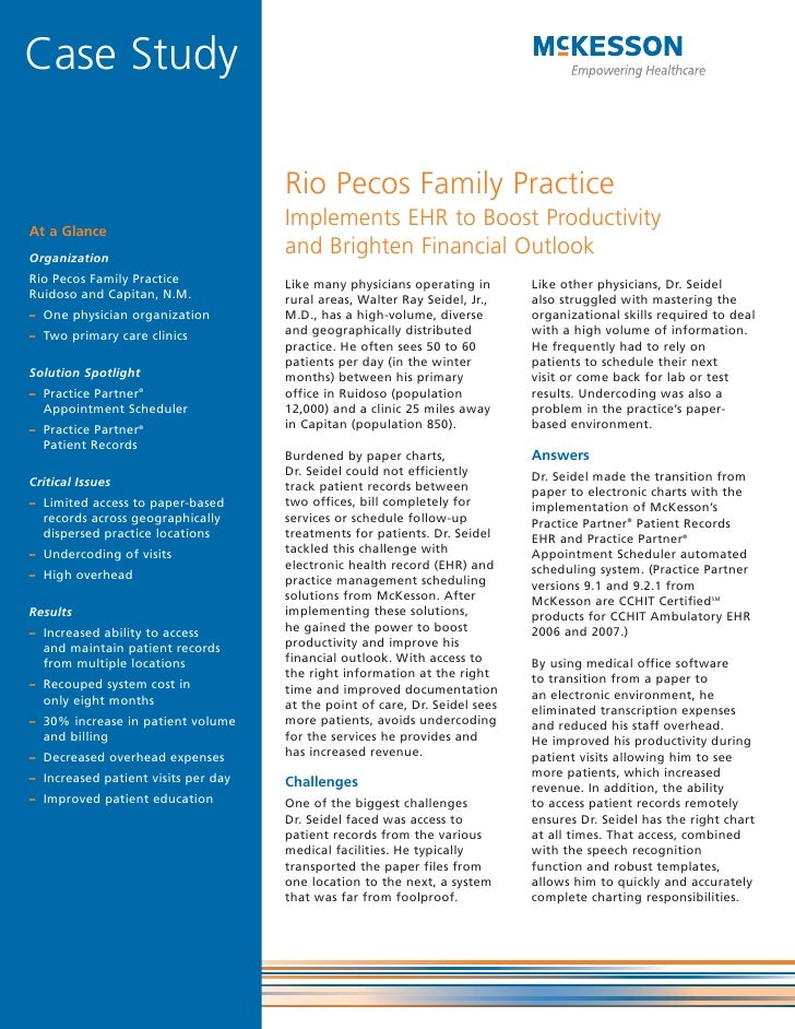 Case Study                                       Rio Pecos Family Practice At a Glance                                    ...