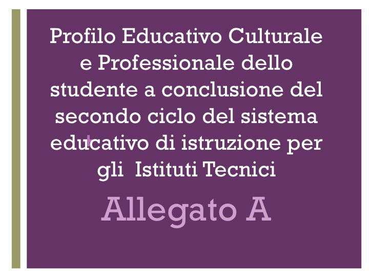 Profilo Educativo Culturale e Professionale dello studente a conclusione del secondo ciclo del sistema educativo di istruz...