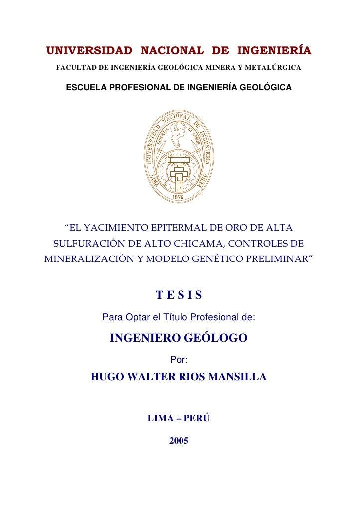 FACULTAD DE INGENIERÍA GEOLÓGICA MINERA Y METALÚRGICA  ESCUELA PROFESIONAL DE INGENIERÍA GEOLÓGICA                     TES...