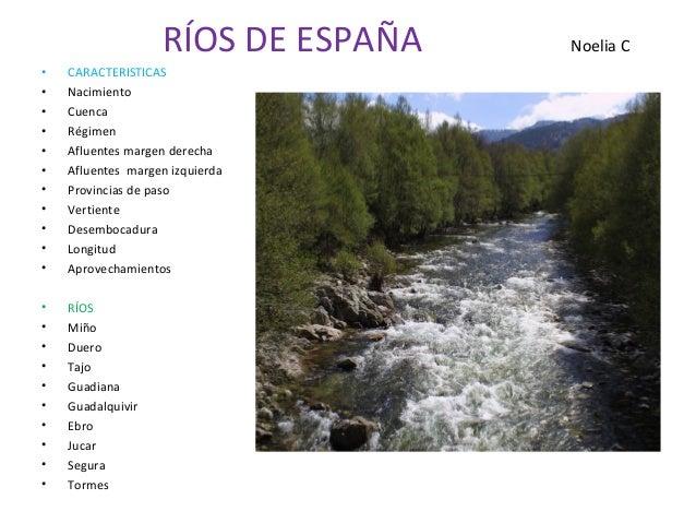 RÍOS DE ESPAÑA   Noelia C•   CARACTERISTICAS•   Nacimiento•   Cuenca•   Régimen•   Afluentes margen derecha•   Afluentes m...